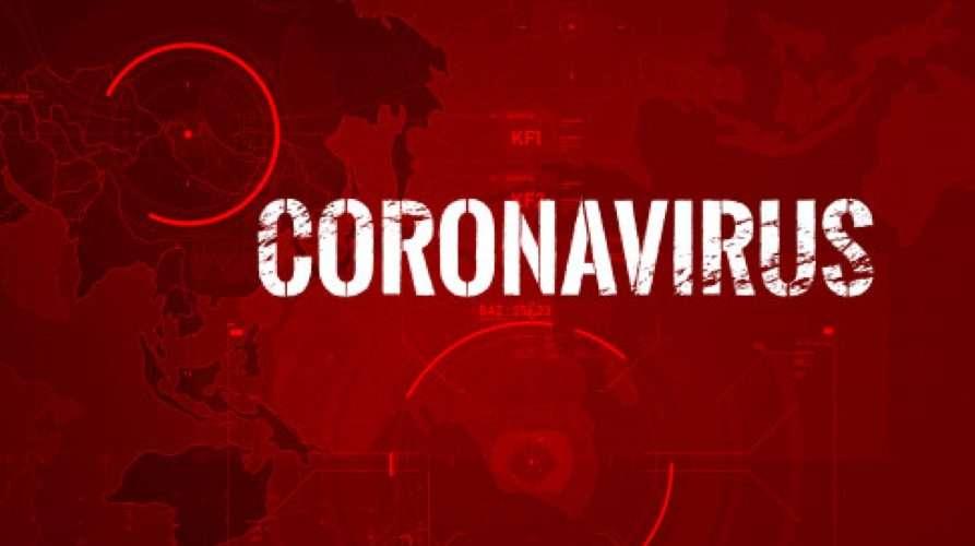 Sfondo rosso e scritta corona virus
